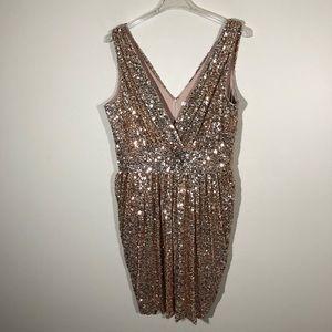 Badgley Mischka Gold Sequin Dress Size 18